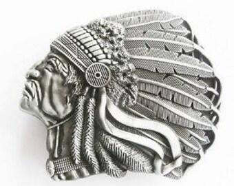 Native American Indian Steel Headdress Belt Buckle
