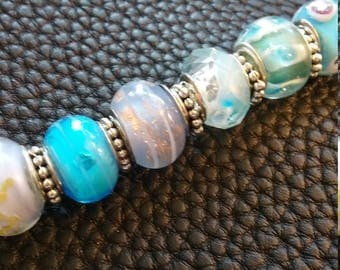 """Partly Cloudy - 7.5"""" Handcrafted Murano Glass Bracelet"""