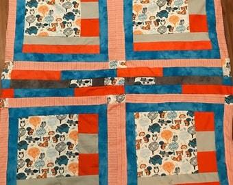 """Fleece lined quilt """"Wilderness Friends"""""""