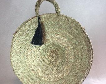 Round basket - natural basket - basket - basket Beldi - Pompom straw round - Moroccan basket - round stroh tasche - Round bag - tote bag