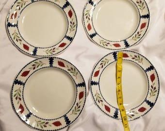 "Adams Ironstone Dinner Plates 10"" Lancaster Print Serving 4"