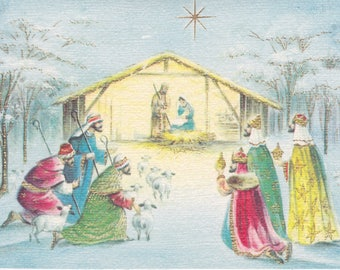 Vintage 1960s Christmas card with Nativity theme -- by Carrington