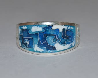 Unique Cloisonne Enamel Ring on silver
