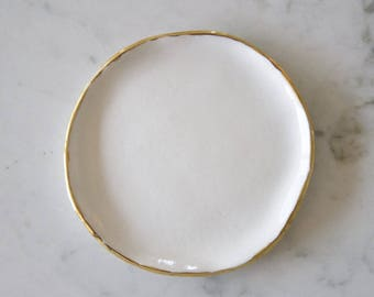 Ring Dish - White/Gold
