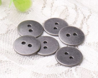 cardigan buttons 10pcs 14mm 2 holes sewing buttons round metal buttons round light black buttons smooth buttons