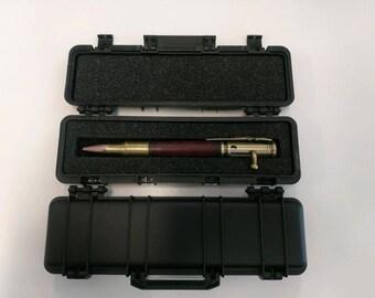 30 Caliber Bolt Action Antique Brass Bullet Cartridge Pen in Gun Case Box