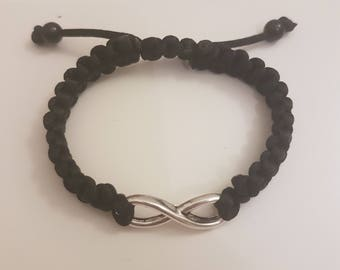Handmade Black Macrame infinity bracelet.