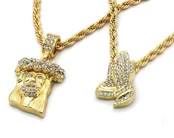 """New Men's 14k Gold Plated High Fashion 2 pcs Jesus & Prayer 4mm 30"""" And 24"""" Rope chain"""