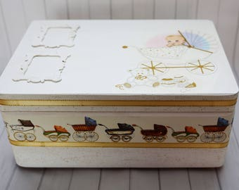 Baby wooden keepsake box.christening or baby shower gift,decoupaged,hand made