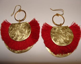 handmade earrings with brass and tassels