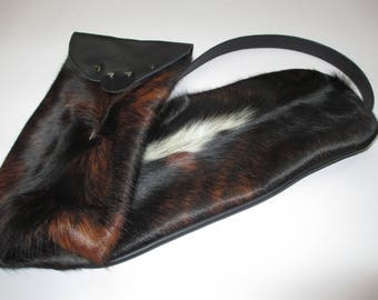Exotic Hair on Cow Hide Leather Long Utility Storage/Carry Bag