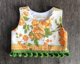 Jill  Crop Top  , baby crop top , girls crop top , vintage crop top , vintage fabric , handmade vintage , baby crop , baby crop top set .