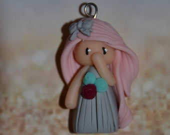 Poppet with polymer clay gray dress, pink hair - Collection bridesmaid jewelry - jewelry handmade