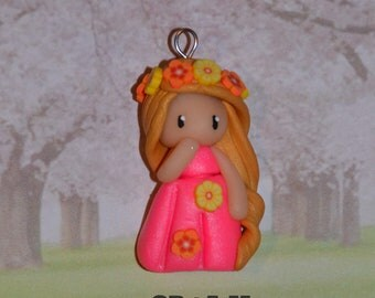 Handmade baby dress pink glamorous golden hair - Spring Collection - jewelry polymer clay