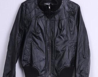 Unbrande Leather Mens S Bomber Jacket Black Full Zipper