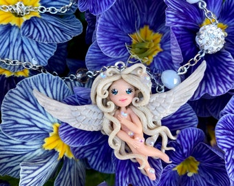 White Angel Necklace/Fimo Polymer paste/fantasy/Arimi creations/Gift girl/handmade/wings