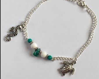 Anklet or Bracelet Seahorse Turtle