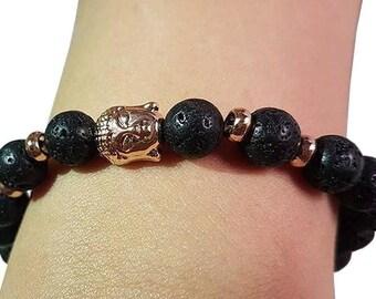Beaded Bracelet Black Matte. Buddha. Gold.