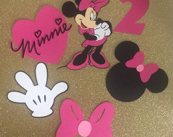 Pink and Black Minnie Mouse Centerpiece