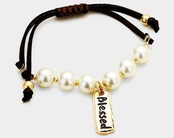 Be blessed message bracelet