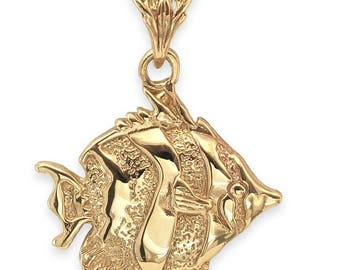 SOLID 9ct Gold DISCUS Fish Pendant (4.5 grams UK Hallmarked)
