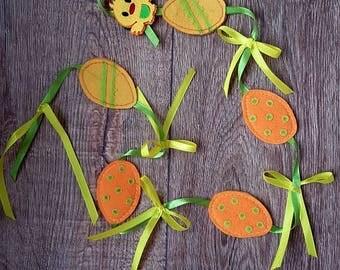 set of 5 eggs and bunny/ felt eggs/ felt easter decorations/easter bunny/fabric easter banner/rabbit garland / felt toys by Evelin Kara