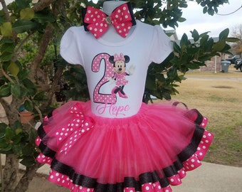 Minnie Mouse Tutu Set.. Pink and Black Tutu polka dot ribbon trim..