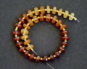 Hessonite Faceted Rondelles, Hessonite Faceted Rondelle Beads