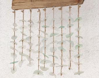 Wall decor driftwood and sea glass