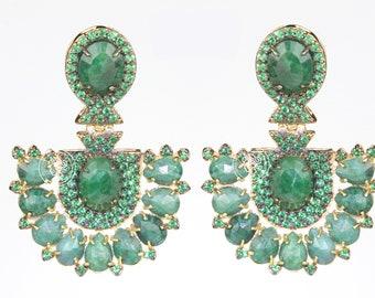 Emerald Earring with Green Zirconia