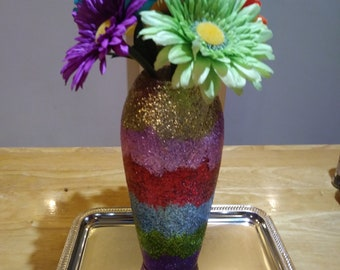 Glittered Vase With Flowers for Spring