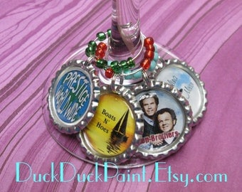 Step Brothers Funny Set of 4 Wine Charms for Wine Glasses!  FREE Shipping!  Boats n' Hoes Catalina Wine Mixer Prestige Worldwide Movie