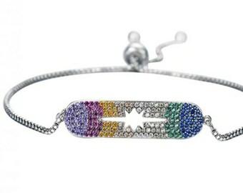 Stainless Steel Swarovski Crystal one size dangle slide closure bracelets
