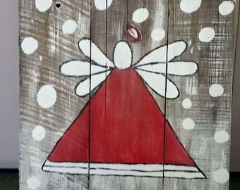 Wooden Pallet Angel Painting