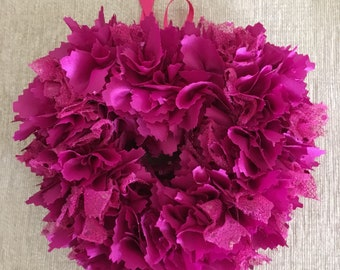 Beautiful cerise silky fabric heart