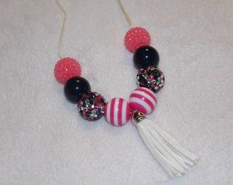 Chunky Bubblegum Necklace - Pink/Navy