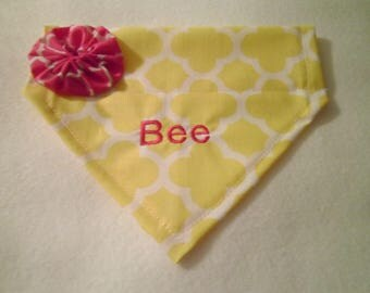 Personalized, Dog Bandana, yellow,  Monogram, Quatrefoil, Over the Collar, Dog Lovers Gift, Birthday Present, Photo Shoot