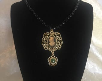 Goldtone Cameo Pendant Necklace
