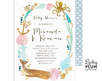 Ocean Baby Shower Invitation / Couples Coed Baby Shower Invitation / Whale Baby Shower Invitation /  Nautical Baby Shower Invitation / Twins