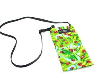 Ladybug fabric Eyeglass Reader Case -with adjustable neck strap lanyard