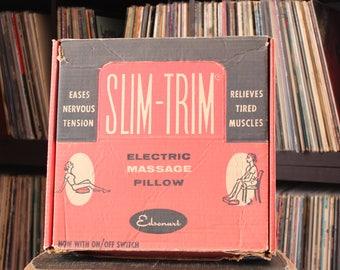 working 50s vintage Slim Trim electric massage pillow . funny gag gift, great illustrations . aqua blue pillow, bakelite switch by Edsonart