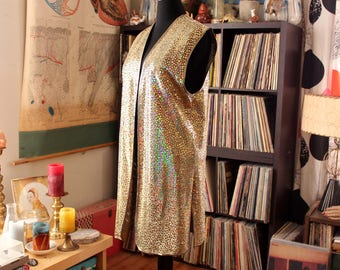 gold sequin tunic vest, 80s gaudy glam costume vest rainbow poly sequins, womens xl