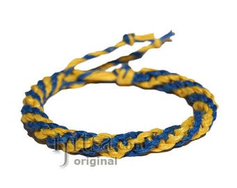 Yellow and blue round hemp bracelet or anklet