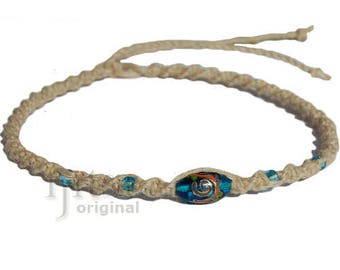 Natural twisted hemp necklace, turquoise oval with gold glass bead