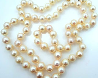 """Pretty 14k Gold Hand Knotted Cultured Pearl 23"""" Long Necklace"""