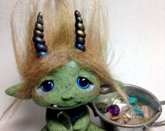 """OOAK """"Lexi"""" The Goblin Trollfling Troll with her """"Crystal stone soup"""" by Amber Matthies"""