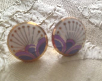 Laurel Burch KIRIN Post Earrings Starburst Cloisonné Art Jewelry Vintage Piece Signed Lilac Purple Off White Gold