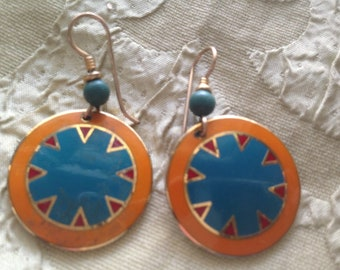 Laurel Burch MYTH Cloisonne Earrings French Ear Wires RARE Vintage Jewelry 1980s Gold Filled Turquoise Yellow Red Gold