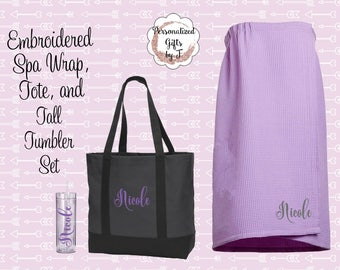 Embroidered Tote, Spa Wrap, and Tumbler Set, Bridesmaids Gift, Teen Gift, Senior Gifts, Maid of Honor, Getting Ready Day