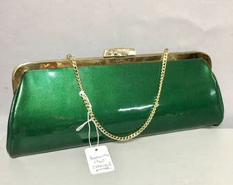 EMERALD Green 1960's Patent LEATHER Clutch Bag / Awesome 60's MOD Purse